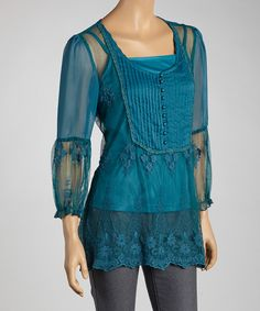 Take a look at this Zashi Teal Lace Peasant Top on zulily today!