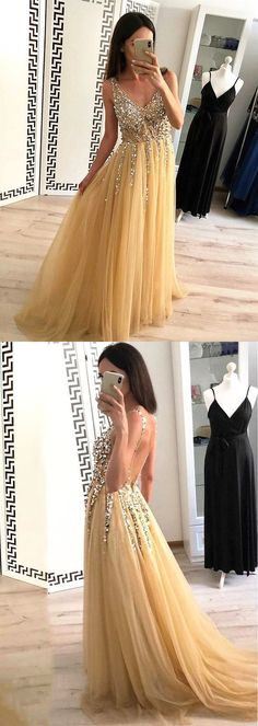 Elegant V neck Backless Tulle Long Prom | sparkledress School Dance Dresses, Prom Dresses For Teens, Hoco Dresses, Backless Prom Dresses, Formal Evening Dresses, Sexy Dresses, Dress Formal, Lovely Dresses, Dress Prom