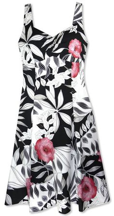 Sexy & flattering, the Molokini Hawaiian dress is a pretty sundress to wear. Tropical flowers on a lightweight fabric makes it an easy choice for a luxurious resort cruise or a stroll down a sparkling blue beach.