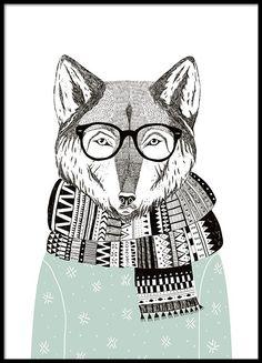 Poster med grafisk illustration av en trendig räv.