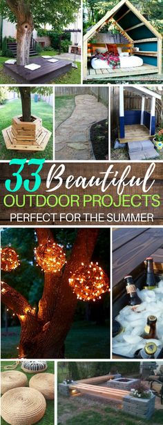 These 33 DIY Backyard Projects Are Perfect for Parties and Getting Outdoors this Summer! | Fire Pits | Benches and Lounges | Kids Tree House | Swinging Tree Bench | Paved Walkways #backyard #summer #diy #homeimprovement #projects
