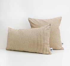 Navy Stripe Cushion Cover   Linen Pillow  Navy and Beige