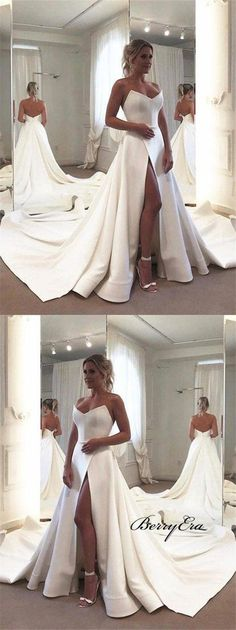 Terrific Screen Strapless Long A-line Ivory Satin Slit Wedding Dresses, Bridal Gown Tips Lovely Wedding Dresses ! The existing wedding dresses 2019 contains a dozen different dresses in the Dream Wedding Dresses, Bridal Dresses, Bridesmaid Dresses, Wedding Dresses With Slit, Strapless Wedding Dresses, Satin Mermaid Wedding Dress, Wedding Goals, Wedding Day, Wedding Venues