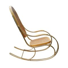Vintage Gilt Metal & Cane Rocking Chair for Shop with global insured delivery at Pamono. Brown Beige, Design Show, Rocking Chair, Rattan, Vintage Designs, Vintage Items, Mid Century, Brass, Metal