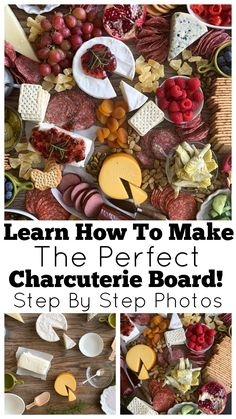A step-by-step guide on How To Make the Perfect Charcuterie Board! A charcuterie board is a big cheese plate with meats & fruits - it's perfect for parties! Charcuterie Recipes, Charcuterie And Cheese Board, Charcuterie Platter, Cheese Boards, Antipasti Board, Cheese Board Display, Charcuterie Display, Meat Platter, Antipasto