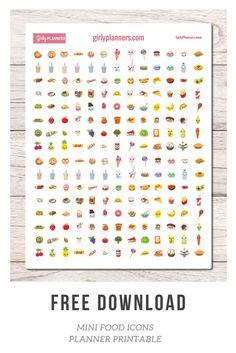 Free Mini Food Icons Printable