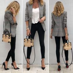 Saturday's #ootd - #VeronicaBeard blazer, #KateMoss4Equipment tank, #RagBone jeans, #LouboutinSoKate120mm and #DolceGabbana bag. See previous post for more of this look.