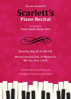 Customize your own Recital invitations 5 Templates free