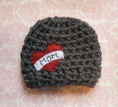 "Dark gray ""Mom"" hat/ newborn hat/ baby boy hat. $20.00, via Etsy."