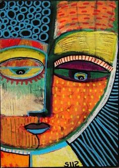 By Sandra Silberzweig. professionally produced on archival, textured canvas using. Art Painting, Abstract Face Art, Art, African Art Paintings, Abstract Portrait, Mexican Art, Abstract, Funky Art, Paper Art