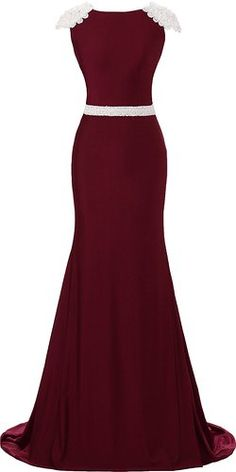 9e5dc4b9eb Okaybridal Women s Cap Sleeved Beaded Fishtail Long Formal Evening Party  Dress  Amazon Fashion