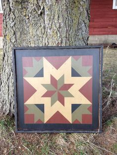 PriMiTiVe Hand-Painted Barn Quilt, Framed 2' x 2' My Mother's Star Pattern on Etsy, $75.00