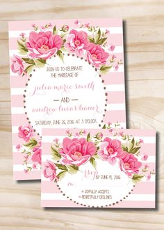 Pink Floral Wedding Invitation. Etsy Store: Paper Heart Company