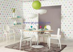 c47f3191427a0 Papel pintado vinílico lunares colores fondo blanco - Boutique del Papel  Pintado. Pintar Dormitorio Juvenil