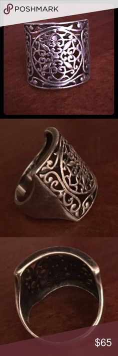 Vintage Art Deco Sterling Silver Scroll Ring Vintage Art Deco Sterling Silver Scroll Ring, size 8. Stamped .925, gorgeous ornate filigree design. Vintage Jewelry Rings