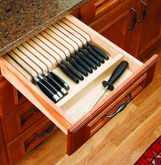 get that big chunky knife block off of your countertops with a Wood Knife Block Insert. Handy, right?