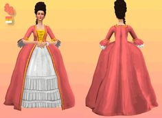 The Sims 4 Pc, Sims Cc, Sims 4 Mods Clothes, Sims Mods, Art Clothing, Sims 4 Clothing, Sims 4 Decades Challenge, Rococo Dress, Sims Packs