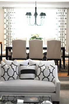 Omgee! LOVE it! My ideal table and chairs, curtains and the pillows are FAb! ;) white couch is lovely but with my kids it ain't happenin' lol