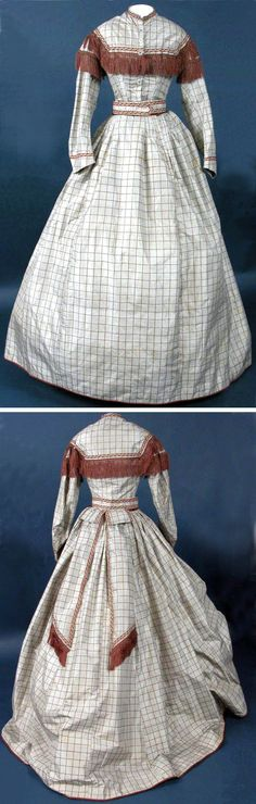 Afternoon dress, circa 1864-1867. Gray silk taffeta patterned with brown checks and trimmed with brown, red, and green silk braid and fringe with hand-knotted tassels and glass buttons. Two pieces, lined in linen. Five ornamental buttons engraved with croquet mallets and hoops, but dress is trained in back and could not be used to play croquet. Killerton House Museum via National Trust (UK).