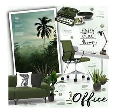 """Home Office: Green"" by nyrvelli ❤ liked on Polyvore featuring interior, interiors, interior design, home, home decor, interior decorating, CO, Nearly Natural, Remington and BoConcept"