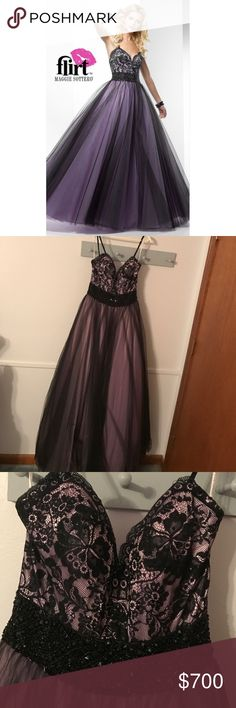 Elegant ball gown by Flirt!! Prom or wedding ready Dress is in very good condition, only one once for a prom a couple of years ago. Purple and black lace and bead bodice, full tulle skirt! Dress is a size 6 with no alterations done. Comment with any questions  feel free to make reasonable offers Flirt by Maggie Sottero Dresses Prom