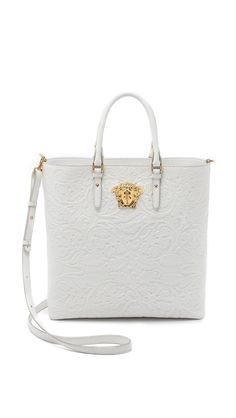 4904718309 Versace White and Gold Leather Tote