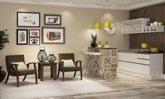 Sala de Estar com Poltronas e Mesa lateral Integrada com Cozinha Compacta Imbuia/Marrom/Branco - Caaza