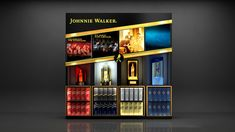 Johnnie walker display unit design on Behance Retail Display Shelves, Pos Display, Bottle Display, Wine Display, Display Design, Pos Design, Retail Design, Bar Counter Design, Visual Merchandising