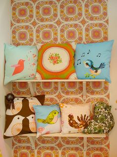sometimes you have to wonder about the things that have never occurred to you, like why not do cushions all of a theme -- what a good idea! Patch Quilt, Needle Cushion, Cute Cushions, Textiles, Pillow Room, Soft Furnishings, Cushion Covers, Decoration, Decorative Pillows