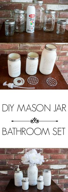 DIY MASON JAR BATHROOM SET PINTEREST