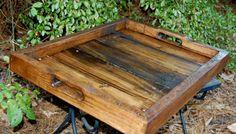 Large Dark Walnut Serving Tray/ Reclaimed by LooneyBinTradingCo