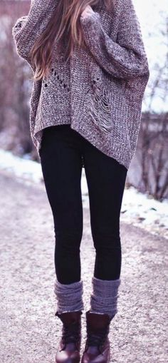 Winter casual fashion .. I love everything about this outfit!! Black leggings, boot socks,  warm baggy sweater!!!