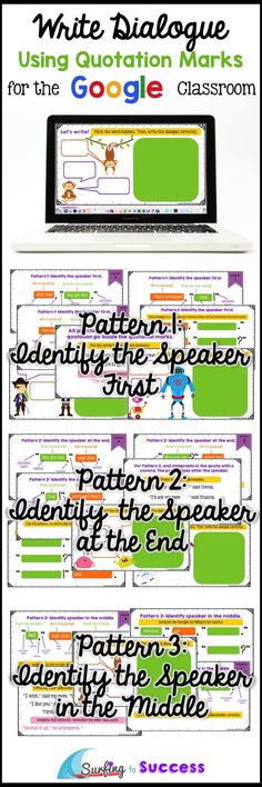 Digital graphic organizers take students through the process of writing dialogue. Students learn to use correct capitalization and punctuation with several opportunities to apply the use of quotation marks during creative writing activities. My students l