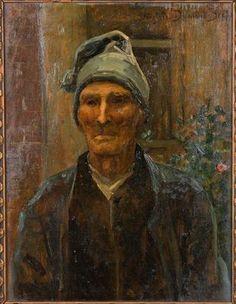 """Virginie DEMONT-BRETON (1859 -1935). """"Portrait de paysan de Planques près de Douai"""", huile sur panneau, signée en haut à droite, titrée au revers du panneau (35 x 26,5 cm) Revers, Portrait, Painting, Modern Paintings, Virginia, Sign, Oil, Top, Headshot Photography"""