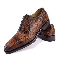 Alligator Leather Cap Toe Lace up Oxford Classic Modern Business Dress Shoes-Brown  Mode Homme 375198120e6b