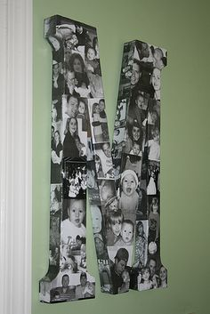 Mod Podge Monogram with your photos. This would be a great Xmas present for the grandparents!