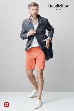 Add a lightweight blazer to bring polish to a shirt-and-shorts combo.