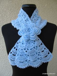 Crochet cowl flower lace scarf new ideas Crochet Lacy Scarf, Bonnet Crochet, Crochet Collar, Lace Scarf, Crochet Scarves, Crochet Clothes, Hand Crochet, Crocheted Lace, Crochet Flower