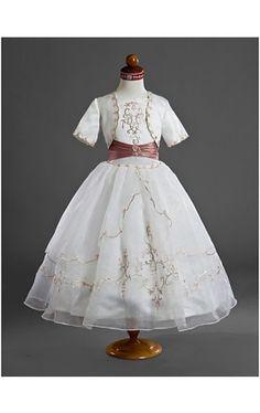 Ball Gown Square Floor-length Organza Satin Flower Girl Dresses