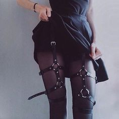 "681 Likes, 21 Comments - LEATHER - GARTER - HARNESS (@dr.harness) on Instagram: ""Waist to thigh harness, Fetish harness, leather leg garter, sexy stocking  #doctor_harness…"""