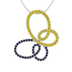 Round Yellow Diamond Necklace in Sterling Silver with Sapphire