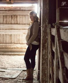 Country maternity session in old barn. Love the outfit and color!