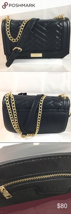 BCBG Paris Black Quilted Purse - Gold Hardware Love this Quilted purse, looks so much like Rebecca Minkoff's bag at a lower proce point. This is not a mini, it's a larger version that measures 9.5 x 6 inches perfect for looking elegant for everyday wear or going out. BCBG Bags Crossbody Bags