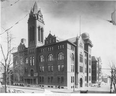 Central High School - (1890) View looking toward the south of Central High School located at 11th and Locust in downtown Kansas City, Missouri. In 1915 the building housed the Kansas City Junior College. Later in 1953 the building was torn down.  The telescope atop Central High School had to be removed because  passing streetcars created severe vibrations, rendering the instrument useless.