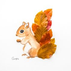 Cheeky Squirrel A curious squirrel with a fluffy tail made of brown copper beech leaves. This cheeky little one definitely complements an earth toned room. Specifications Illustrated art print from an original watercolor painting. Fall Crafts For Kids, Toddler Crafts, Preschool Crafts, Art For Kids, Kids Crafts, Autumn Art Ideas For Kids, Art Et Nature, Nature Crafts, Squirrel Art