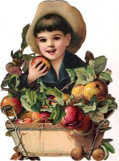 Oblaten Glanzbild scrap die cut chromo Kind 26cm child enfant Apfel apple 3003