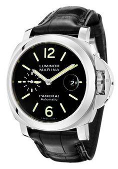 Panerai Men's Luminor Marina Automatic Black Dial Black Alligator