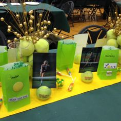 Tennis tables decorations for athletic banquet. Picture of each girl on team and goody bag