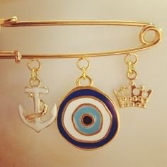 Greek Evil Eye with Anchor & Crown Gold Plated Pin