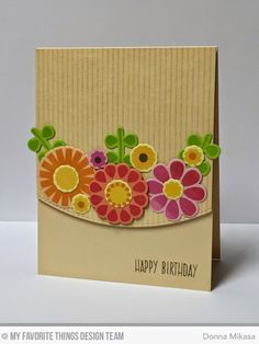 hand crafted card from three umbrellas: Birthday Blooms ..earthy look with kraft base.. luv the curved edge panel with die cut flowers ...